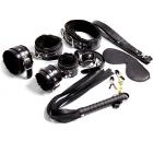 Черный набор из семи предметов: наручники, поножи, кляп, зажимы, ошейник с поводком, плеть, маска