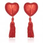 Сексуальные красные пэстис в форме сердец с кисточками