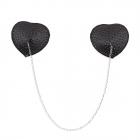 Элегантные черные пэстисы в форме сердца с цепочкой и стразами