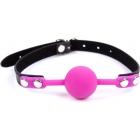 Силиконовый пурпурный кляп-шарик на ремне с замочком