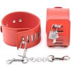 Красные БДСМ наручники на замочках