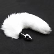 Анальная пробка с натуральным белым лисьим хвостиком L, 47 см, Ø 4 см