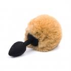 Черная силиконовая анальная пробка с хвостиком кролика, коричневый Ø 2,5 см