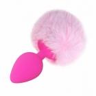 Розовая силиконовая анальная пробка с хвостиком кролика S, розовый Ø 2,5 см