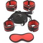 Набор бондажа к кровати красно-черный с маской