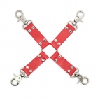 Кожаный бондажный БДСМ крест красный