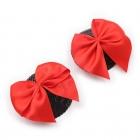 Черные блестящие круглые пэстисы с красными бантиками