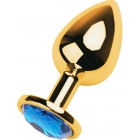Металлическая золотая пробка с голубым стразом S, Ø 2,5 см