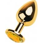 Металлическая золотая пробка с желтым стразом S, Ø 2,5 см