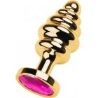 Рифленая золотая пробка с розовым стразом L, Ø 3,8 см