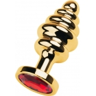 Рифленая золотая пробка с красным стразом S, Ø 2,8 см