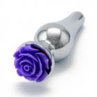 Серебристая пробка с фиолетовой розой S, Ø 3 см, 10 см