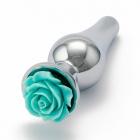 Серебристая пробка с бирюзовой розой M, Ø 3,4 см, 12 см