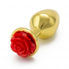 Золотая пробка с красной розой S, Ø 2,5 см
