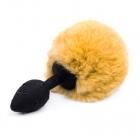 Черная пробка с горчичным хвостиком кролика S, Ø 2,5 см