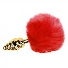 Рифленая пробка с красным хвостиком кролика Gold S, Ø 2,8 см