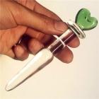Стеклянный стимулятор с зеленым сердечком на конце