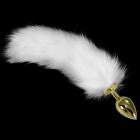 Золотая анальная пробка с белым хвостиком, 7 см, Ø 1 - 3 см