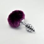 Рифленая анальная пробка с пурпурным заячьим хвостиком, 6,9 см, Ø 3 см