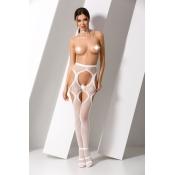 Белые эротичные колготки сетка с доступом S023, размер OS
